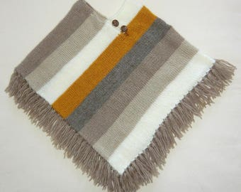 Hand knitted poncho with fringe - wool - toddler baby boy or girl - size 24-36 months - children-