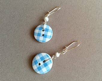 2 buttons gingham sky to pierced earrings
