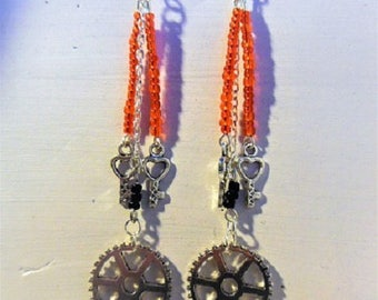 Key and gear steampunk earrings beads