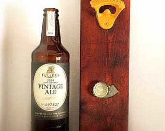 Wall bottle opener with magnet at the base