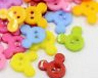 50 buttons 15 x 13 x 2 mm multicolored mickey new