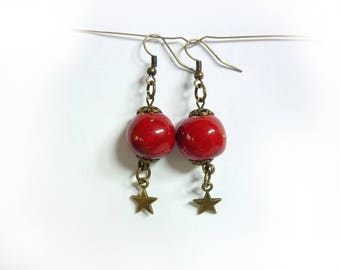 Red ceramic bead earrings