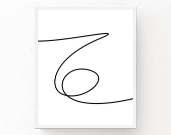 LINE ART PRINT, Modern Wall Art, Squiggle Print, Scandinavian Wall Art, Line Art Poster, Scandi Poster, Modern Art, Minimal Print, Line Art