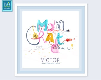 MY little cat loving-painting framed personalized name - gift - decor kids baby room