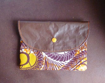 cosmetic case in faux brown leather and cotton fabric brown orange wax 13, 5 x 19, 5cm