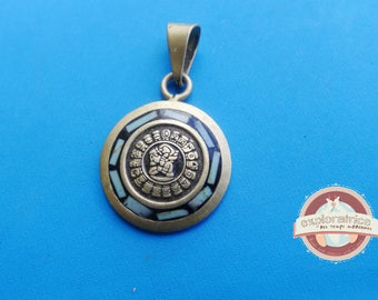 sequin round silver Sun charm Mayan calendar 22x35mm blue