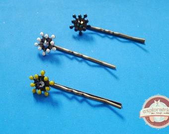 Three Bobby pins Swarovski rhinestones, enamel and metal