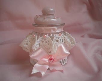 JAR GLASS SHABBY CHIC LACE RIBBON AND PEARL