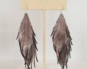 Leather feather earrings metallic leather feather earrings double leather feather earrings lightweight dangle earrings