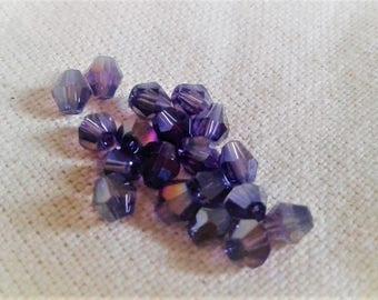Set of 10 Pearl Crystal purple