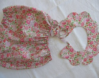 All Bloomer and collar in LIBERTY of Anjo scalloped pink 2 years