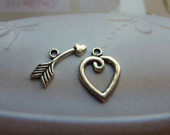 1 lock 2 pieces heart and arrow silver metal