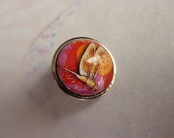 1 button pressure cabochon Dragonfly No. 2 in glass and metal 19mm
