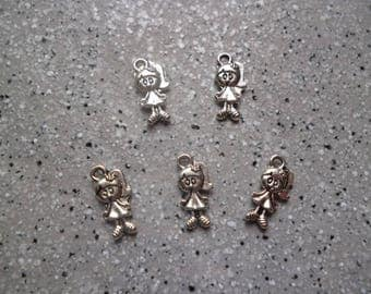 5 lovely charm daughter silver metal