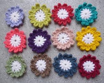 12 multicolor colors handmade crochet flowers