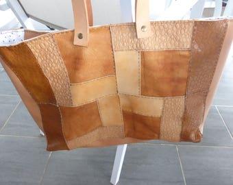 Genuine brown leather patchwork shoulder bag