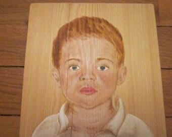 Portrait -  visage d'enfant à l'acrylique