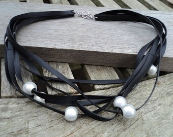The Choker in inner inner and grey pearls - necklace - recycled tire necklace - MULTISTRAND necklace vegan leather.