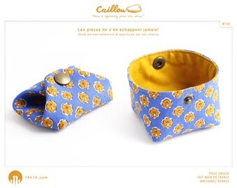 """Wallet """"Stone/40"""" blue camel flowers and mustard yellow lining"""
