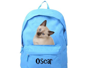 bag has blue Siamese cat personalized with name