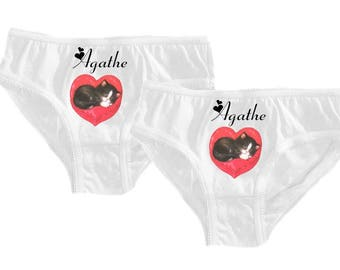 Set of 2 girl white kittens panties customized with name