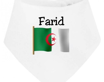 Personalized with name Algeria baby bandana bib
