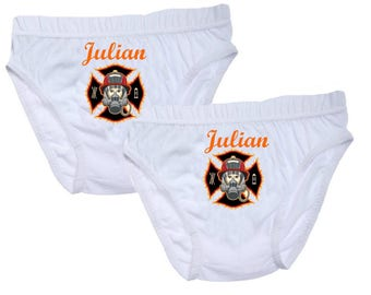 Underwear fireman boys personalized with name