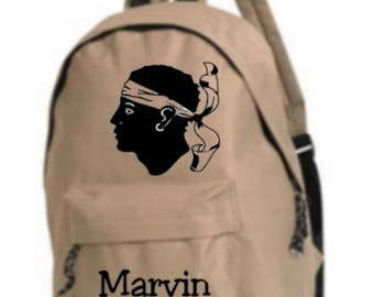 bag has beige Corsica personalized with name