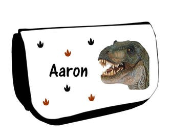Cosmetic case Black /crayons dinosaur personalised with name