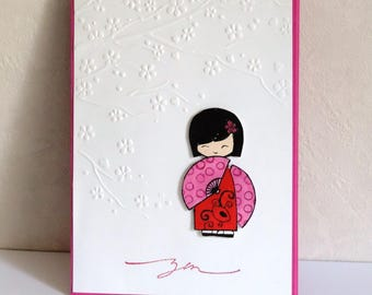 """card any occasion, child, woman, """"little kokeshi"""" Doll Japanese, zen.  Hand made"""