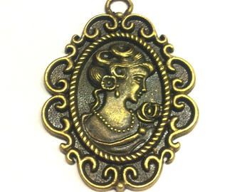 Pendant - charm Lady cameo bronze T32