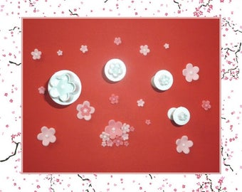 "4 cookie cutters ejectors: shape ""Plum blossom"" - 4 different sizes"