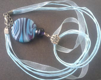 Pendant: Marvel of puck swirl of blue - plum