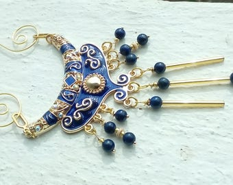 -Necklace 2 in 1 ethnic, blue and Gold Collection