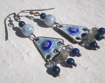 Earrings: Blue speckled enamel and gemstones - copper plate