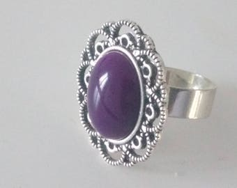 Purple and silver agate ring
