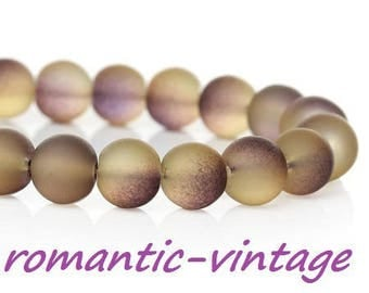 20 gray smoke matte glass beads / purple 8mm