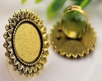 """20mm: 1 """"plumage"""" support deco brass Adjustable ring antique gold 20mm cabochon"""