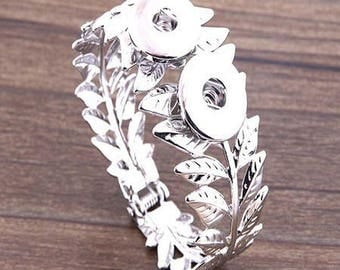 beautiful cuff bracelet silver, model foliage stand for 2 buttons pressure 18 / 20mm