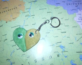 Pretty wooden heart shaped key