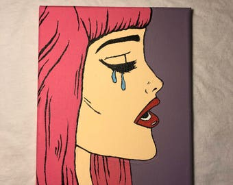 Crying girl pop art painting