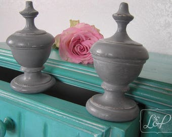 Old weathered gray Gustavian and waxed top