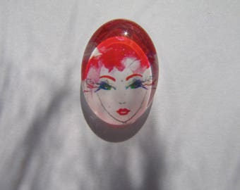 Cabochon 18 X 13 mm oval with red woman's face image