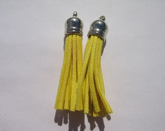 Set of 2 tassels, silver and yellow hues for jewellery making
