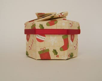 Hexagonal origami Christmas box