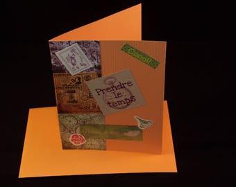 Card made handmade and its envelope, rhythm of life