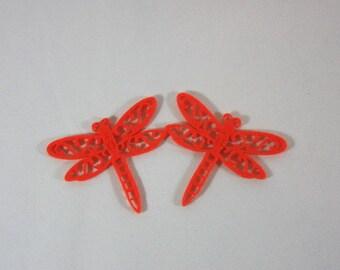 Embellishments/applique/subjects felt orange dragonflies