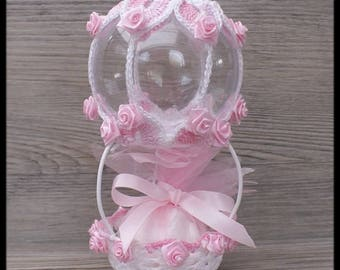 """10 door sweets shabby chic pink and white for christening, birthday """"balloon"""""""