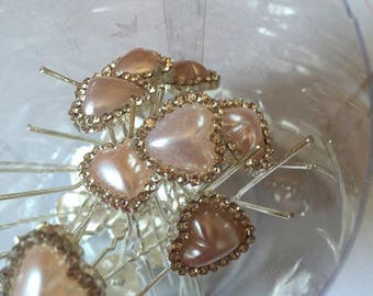 5 hair pins of 70 mm long, Pink mother of Pearl Heart decorated with Rhinestones