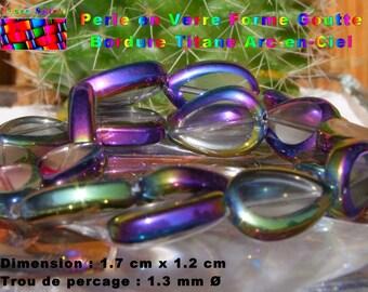 18 large Pearl drops in glass transparent border titanium Rainbow 1.7 cm x 1.2 cm